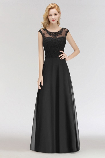 BMbridal Elegant Chiffon Long Lace Black Bridesmaid Dresses Online_1