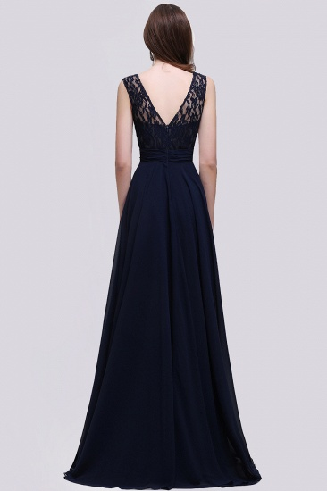 Vintage Lace Scoop Sleeveless Dark Blue Bridesmaid Dress with V-Back_3