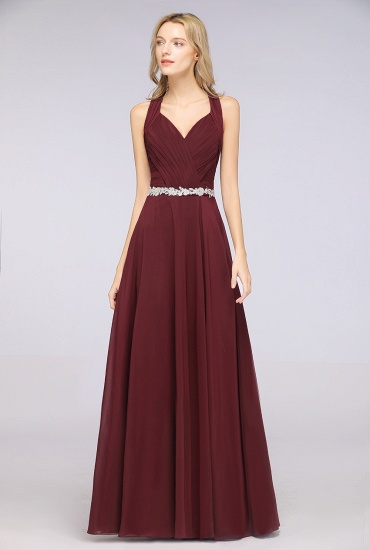 Elegant Chiffon Halter V-Neck Ruffle Bridesmaid Dress with Appliques Sashes_4