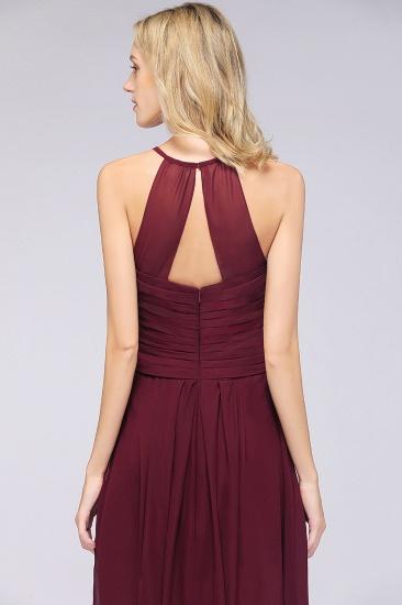 Affordable Spaghetti Straps V-Neck Burgundy Chiffon Bridesmaid Dress with Keyhole Back_58