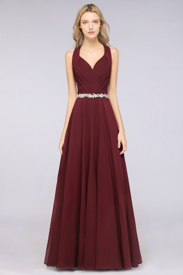 Elegant Chiffon Halter V-Neck Ruffle Bridesmaid Dress with Appliques Sashes_1