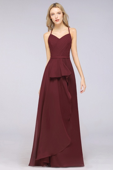 Affordable Chiffon Halter V-Neck Ruffle Burgundy Bridesmaid Dresses_1
