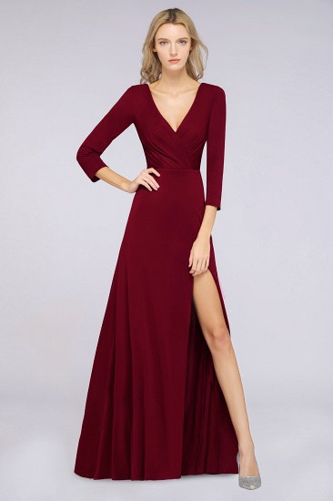 Popular Spandex Long-Sleeves Burgundy Bridesmaid Dresses with Side-Slit_35