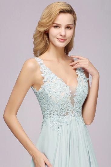 Elegant Lace V-Neck Chiffon Cheap Bridesmaid Dress with Beadings_8