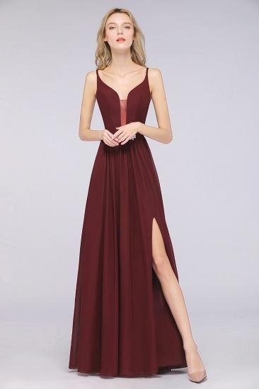 BMbridal Sexy Deep-V-Neck Appliques Burgundy Chiffon Bridesmaid Dress with Slit_4