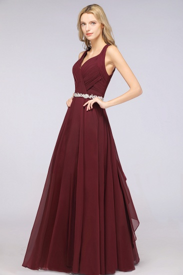 Elegant Chiffon Halter V-Neck Ruffle Bridesmaid Dress with Appliques Sashes_5