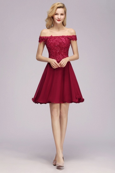 Lace Off-the-Shoulder Short Bridesmaid Dress