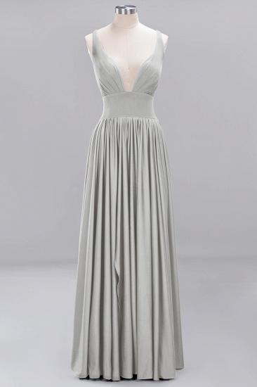 Sexy Deep V-Neck Sleeveless Bridesmaid Dress Burgundy Chiffon Wedding Party Dress_26