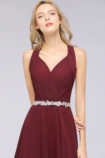 Elegant Chiffon Halter V-Neck Ruffle Bridesmaid Dress with Appliques Sashes_7