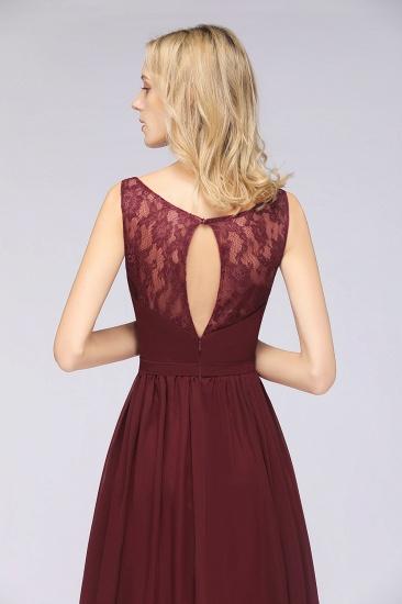 BMbridal Chic Ruffles Straps Chiffon Lace Burgundy Bridsmaid Dress Online_9