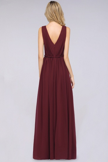 Glamorous TulleV-Neck Ruffle Burgundy Bridesmaid Dress Online_52