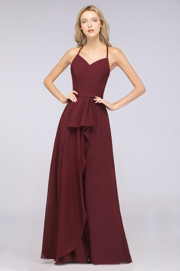 Affordable Chiffon Halter V-Neck Ruffle Burgundy Bridesmaid Dresses_5