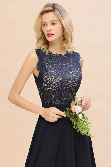 Exquisite Scoop Chiffon Lace Bridesmaid Dresses with V-Back_56