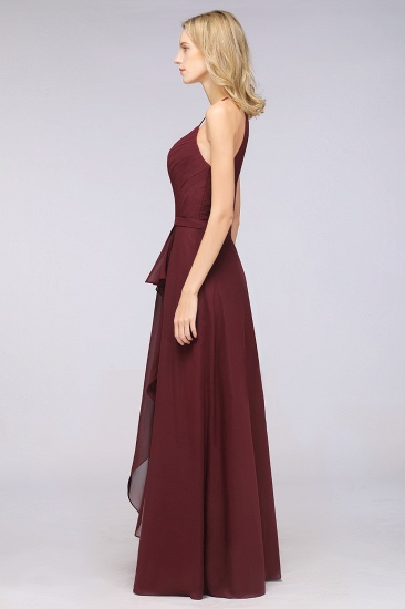 Affordable Chiffon Halter V-Neck Ruffle Burgundy Bridesmaid Dresses_6