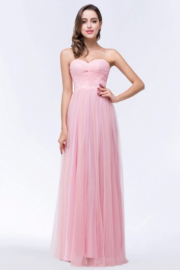 BMbridal Chic Tulle Ruffle Strapless Sweetheart Floor-Length Bridesmaid Dresses_4