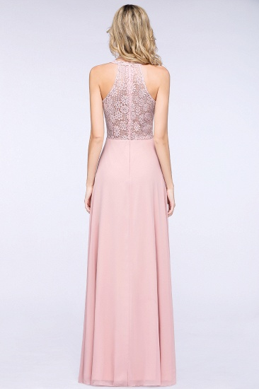 Modest V-Neck Sleeveless Pink Affordable Bridesmaid Dresses Lace_3