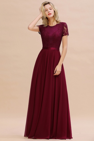 Elegant Chiffon Lace Jewel Short-Sleeves Affordable Bridesmaid Dress_57