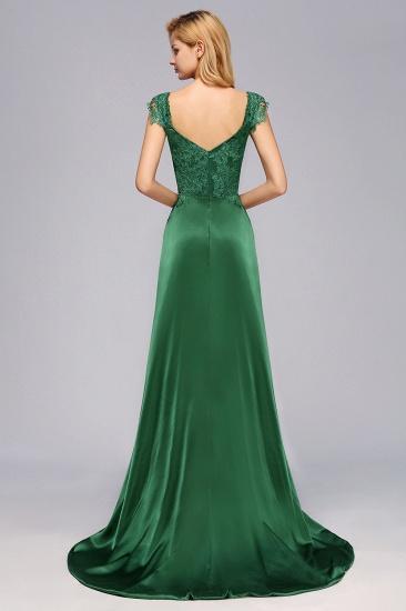 Elegant V-Neck Dark Green Lace Bridesmaid Dresses with Front-Slit_3