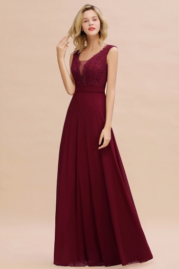 Elegant Lace Deep V-Neck Burgundy Bridesmaid Dress Affordable_7