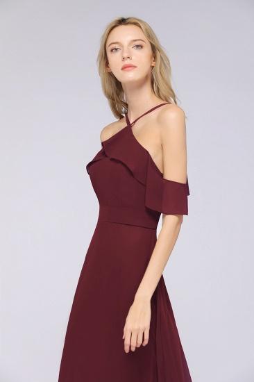 Affordable Spaghetti Straps Burgundy Long Bridesmaid Dress With Bow Sash_7