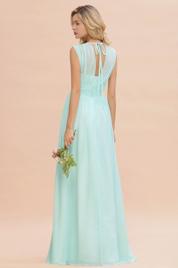 Elegant Chiffon V-Neck Ruffle Long Bridesmaid Dresses Affordable_52