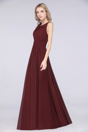 BMbridal Modest Round-Neck Sleeveless Burgundy Bridesmaid Dresses with Ruffles_5