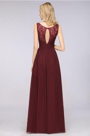 BMbridal Chic Ruffles Straps Chiffon Lace Burgundy Bridsmaid Dress Online_3
