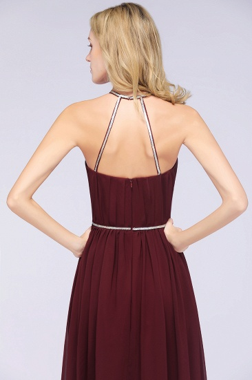 Chic Burgundy Halter Long Backless Bridesmaid Dress with Beadings_8