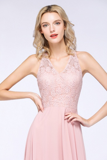 Modest V-Neck Sleeveless Pink Affordable Bridesmaid Dresses Lace_7