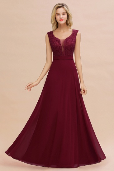 Elegant Lace Deep V-Neck Burgundy Bridesmaid Dress Affordable_5