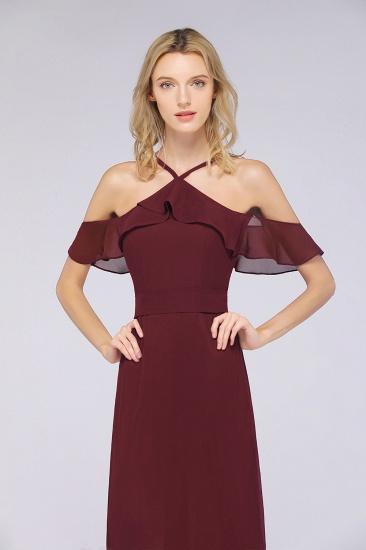 Affordable Spaghetti Straps Burgundy Long Bridesmaid Dress With Bow Sash_6