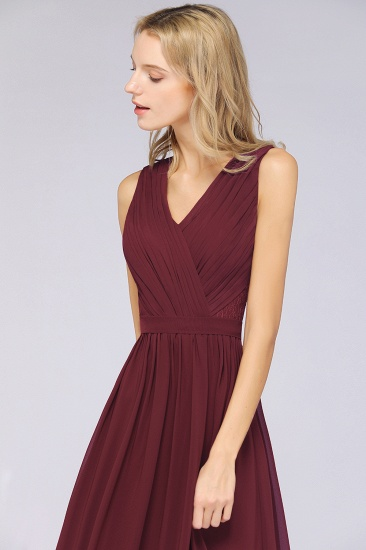 Affordable Burgundy V-Neck Ruffle Bridesmaid Dresses with Lace-Back_7