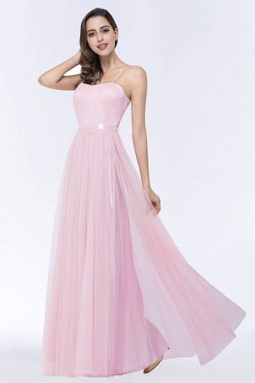 BMbridal Modest Spaghetti-Straps Sweetheart Long Bridesmaid Dress with Sash_5