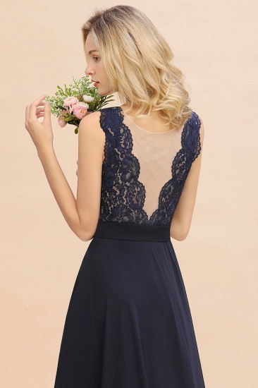 Exquisite Scoop Chiffon Lace Bridesmaid Dresses with V-Back_57