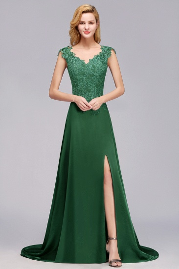 Lace Front-Slit Bridesmaid Dress