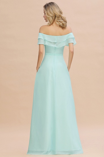 Exquisite Off-the-shoulder Slit Mint Green Bridesmaid Dress With Pockets_52
