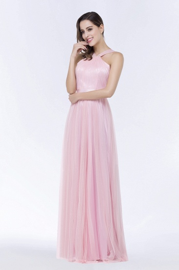 BMbridal Chic Tulle Ruffle Halter Sleeveless Pearls Bridesmaid Dress with Sash_7