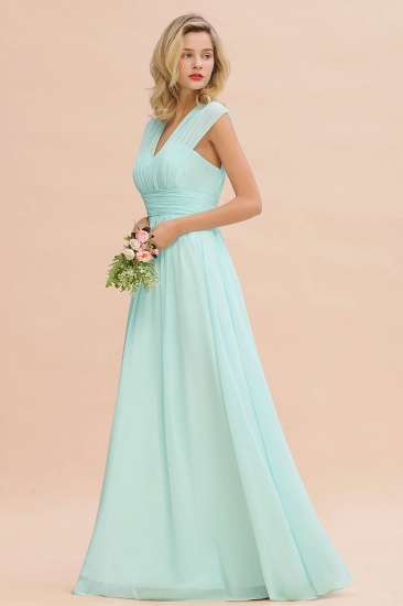 Elegant Chiffon V-Neck Ruffle Long Bridesmaid Dresses Affordable_55