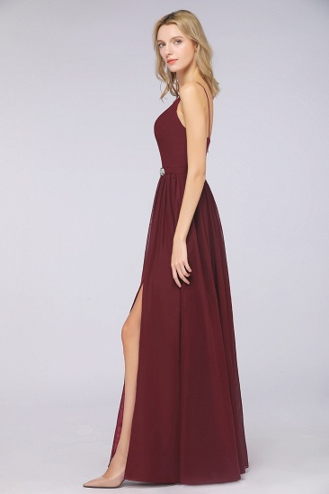 BMbridal Sexy Deep-V-Neck Appliques Burgundy Chiffon Bridesmaid Dress with Slit_7