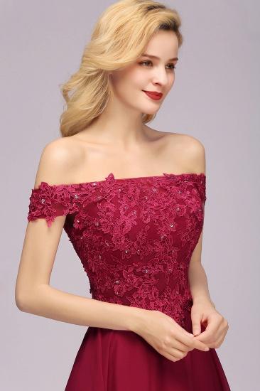 Gorgeous Lace Off-the-shoulder Short Burgundy Bridesmaid Dresses Online_8