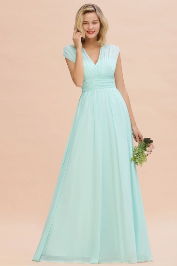 Elegant Chiffon V-Neck Ruffle Long Bridesmaid Dresses Affordable_53