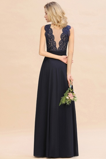 Exquisite Scoop Chiffon Lace Bridesmaid Dresses with V-Back_52