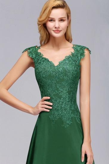 Elegant V-Neck Dark Green Lace Bridesmaid Dresses with Front-Slit_7