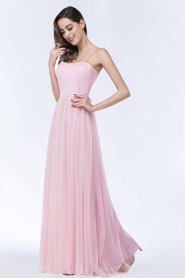 Modest Spaghetti-Straps Sweetheart Long Bridesmaid Dress with Sash_6