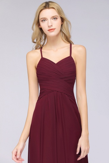 Affordable Spaghetti Straps V-Neck Burgundy Chiffon Bridesmaid Dress with Keyhole Back_57