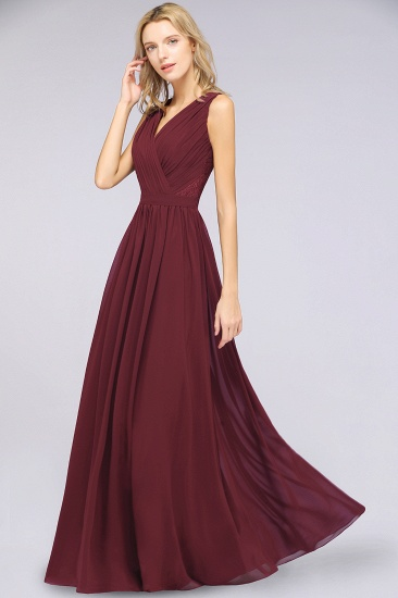 Affordable Burgundy V-Neck Ruffle Bridesmaid Dresses with Lace-Back_5