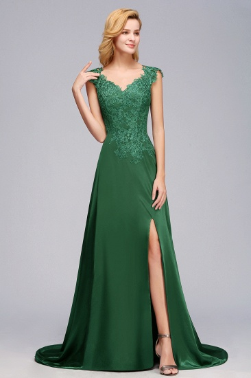 Elegant V-Neck Dark Green Lace Bridesmaid Dresses with Front-Slit_5