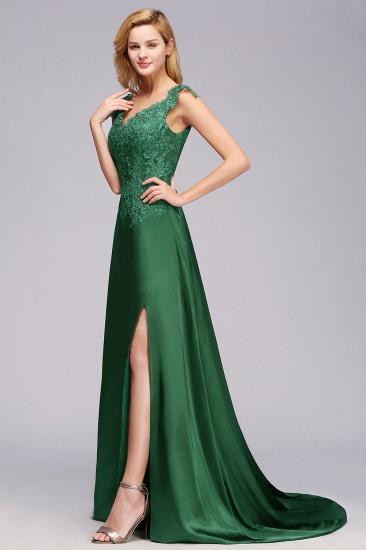 Elegant V-Neck Dark Green Lace Bridesmaid Dresses with Front-Slit_6