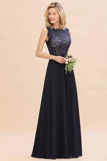 Exquisite Scoop Chiffon Lace Bridesmaid Dresses with V-Back_54