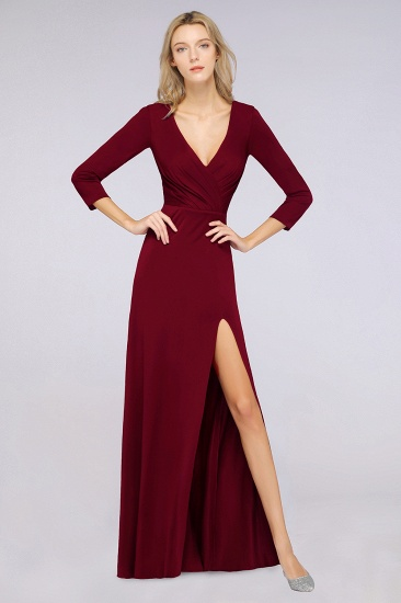 Popular Spandex Long-Sleeves Burgundy Bridesmaid Dresses with Side-Slit_31